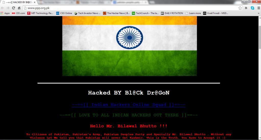 Pakistan People's Party Website Hacked