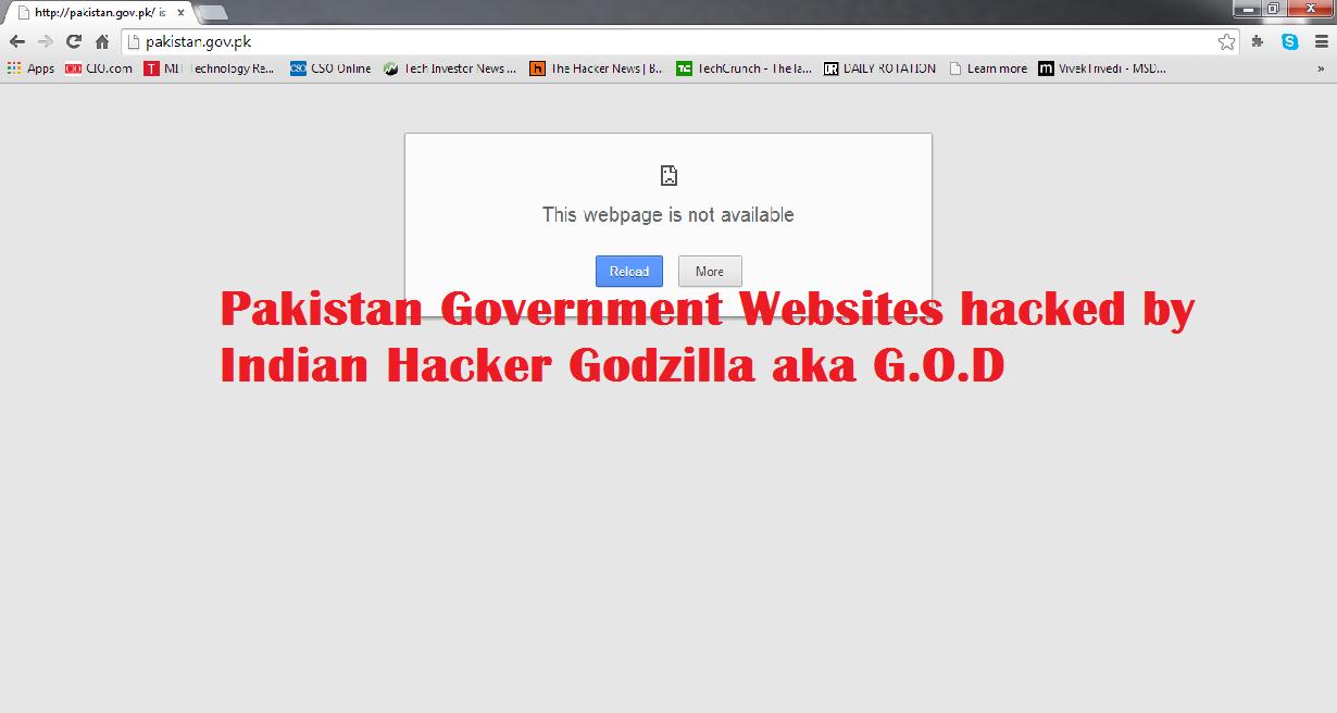 Pakistan government website hacked by indian hacker Godzilla aka G.O.D